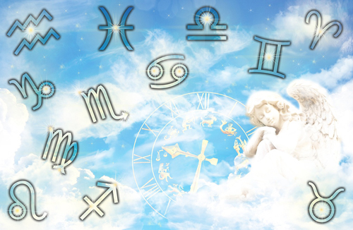 青空に天使や12星座が浮かんでいるイメージ